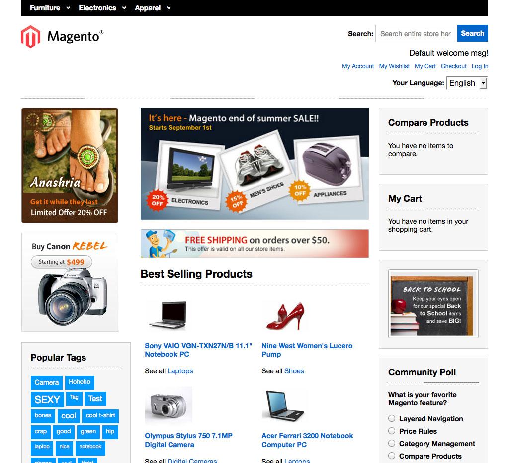 Kostenlose schöne responsive Magento Themes