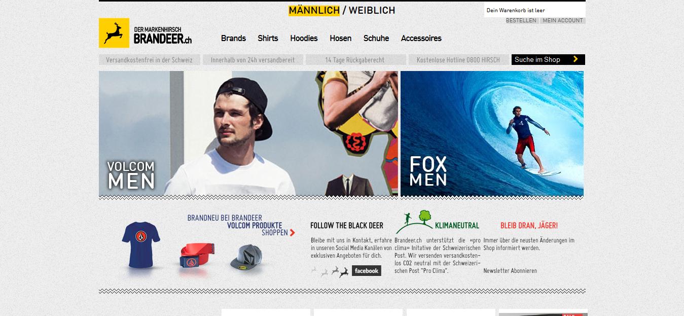 Ein Stylischer Modeshop, bei dem man gerne einkauft, Web: http://www.brnadeer.ch