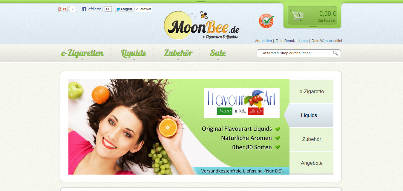 Onlineshop für E-Zigaretten und Liquids, Web: http://www.moonbee.de