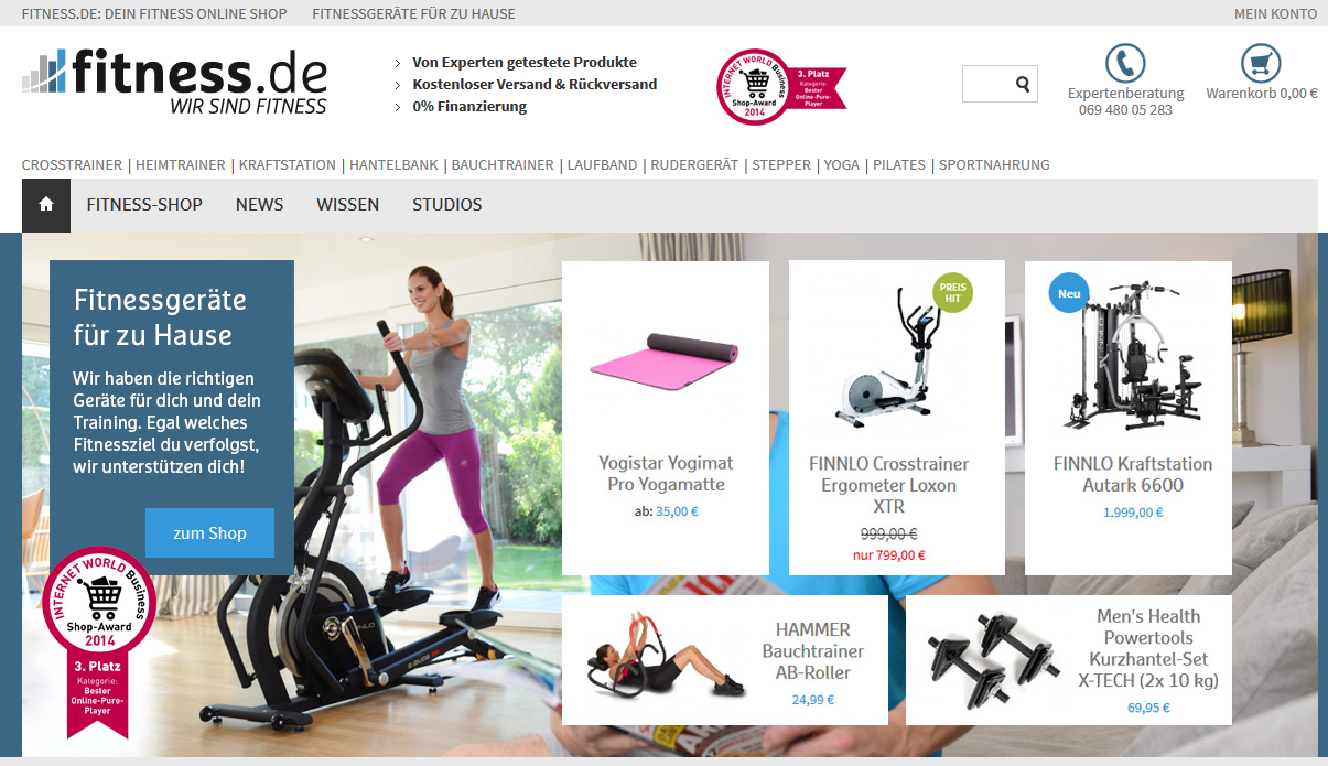Bester Online-Pure-Player: Fitness.de