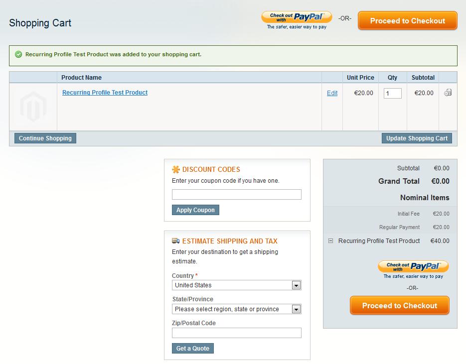 Magento wiederkehrende Profile Warenkorbanzeige
