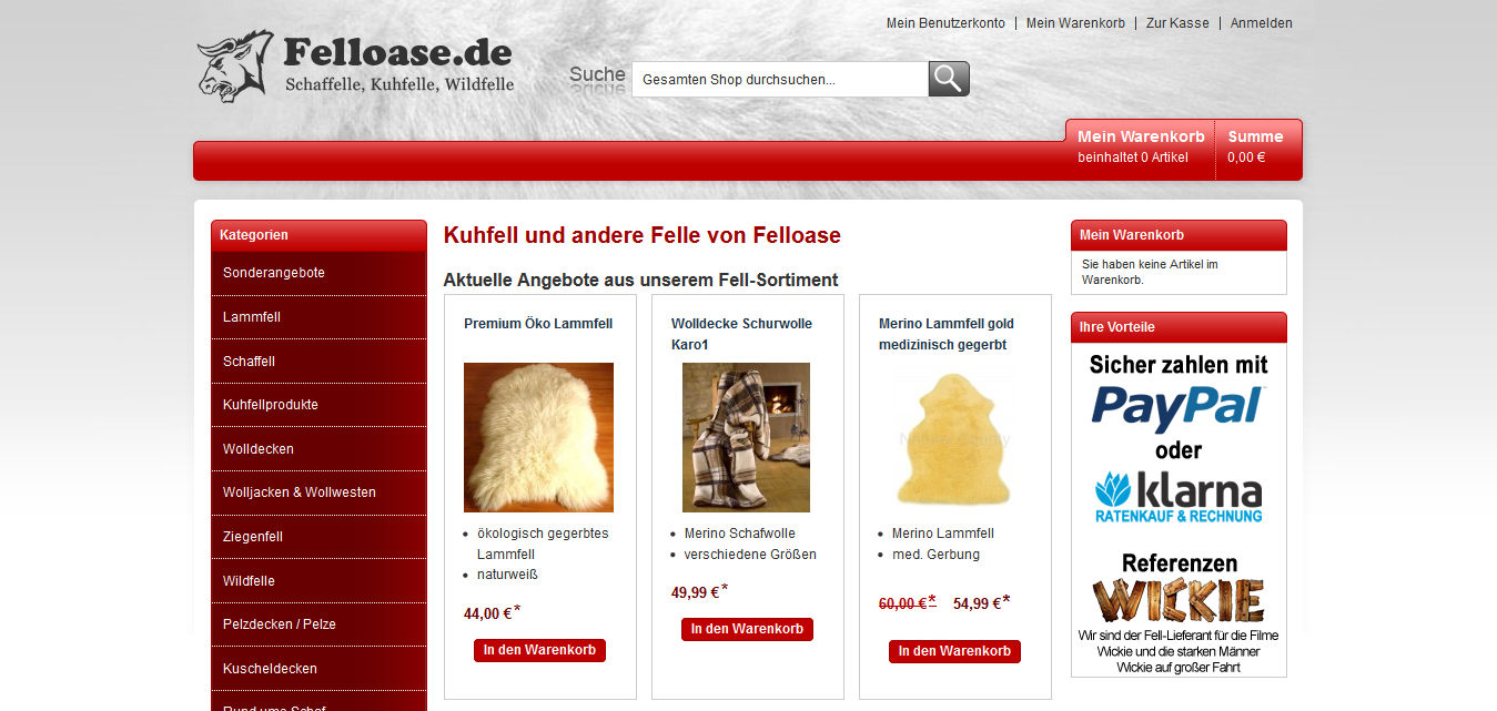 Diverse Felle in alle Größen, Web: http://www.felloase.de